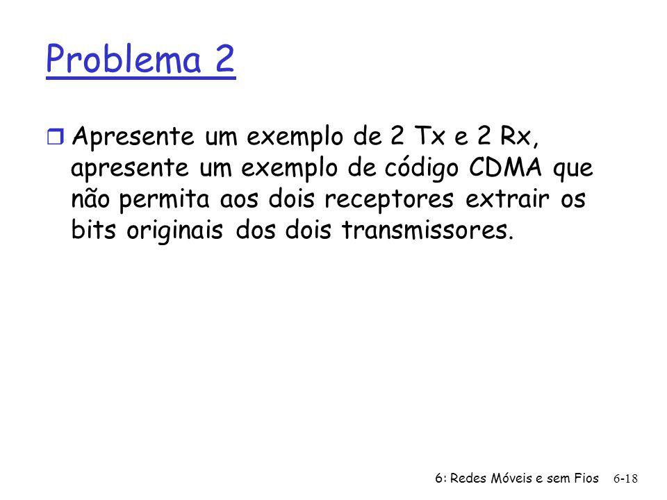 6: Redes Móveis e sem Fios6-18 Problema 2 r Apresente um exemplo de 2 Tx e 2 Rx, apresente um exemplo de código CDMA que não permita aos dois receptor