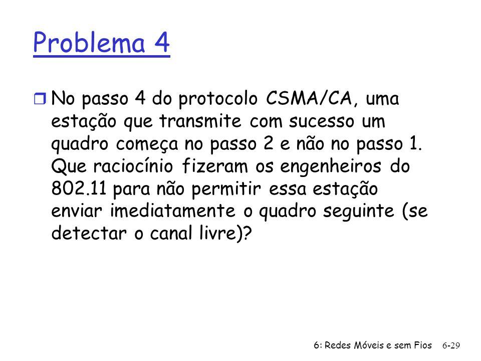6: Redes Móveis e sem Fios6-29 Problema 4 r No passo 4 do protocolo CSMA/CA, uma estação que transmite com sucesso um quadro começa no passo 2 e não n