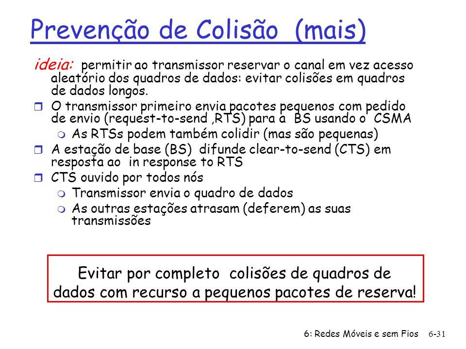 6: Redes Móveis e sem Fios6-31 Prevenção de Colisão (mais) ideia: permitir ao transmissor reservar o canal em vez acesso aleatório dos quadros de dado