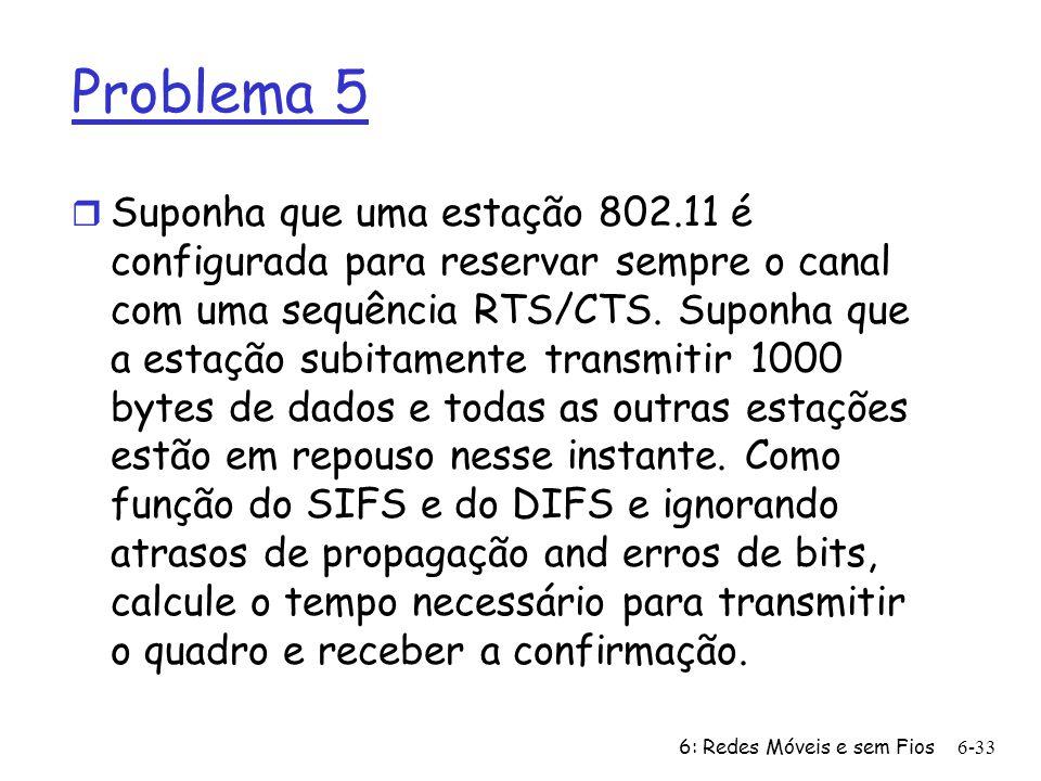 6: Redes Móveis e sem Fios6-33 Problema 5 r Suponha que uma estação 802.11 é configurada para reservar sempre o canal com uma sequência RTS/CTS. Supon