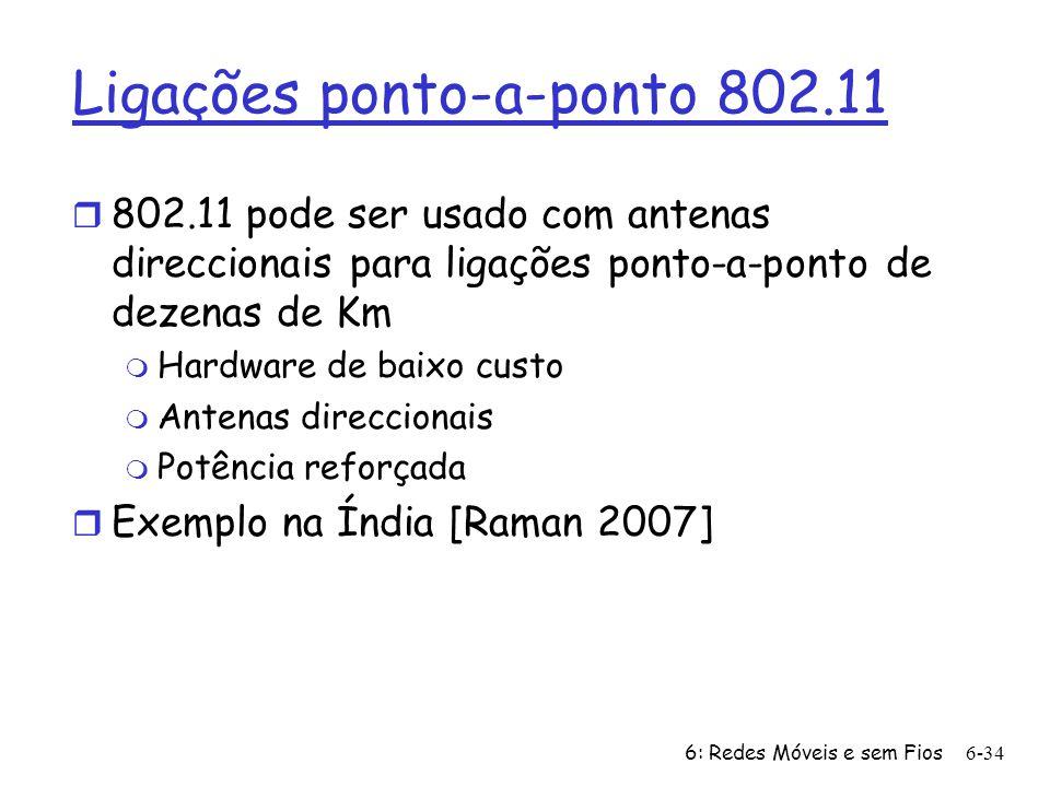 6: Redes Móveis e sem Fios6-34 Ligações ponto-a-ponto 802.11 r 802.11 pode ser usado com antenas direccionais para ligações ponto-a-ponto de dezenas d