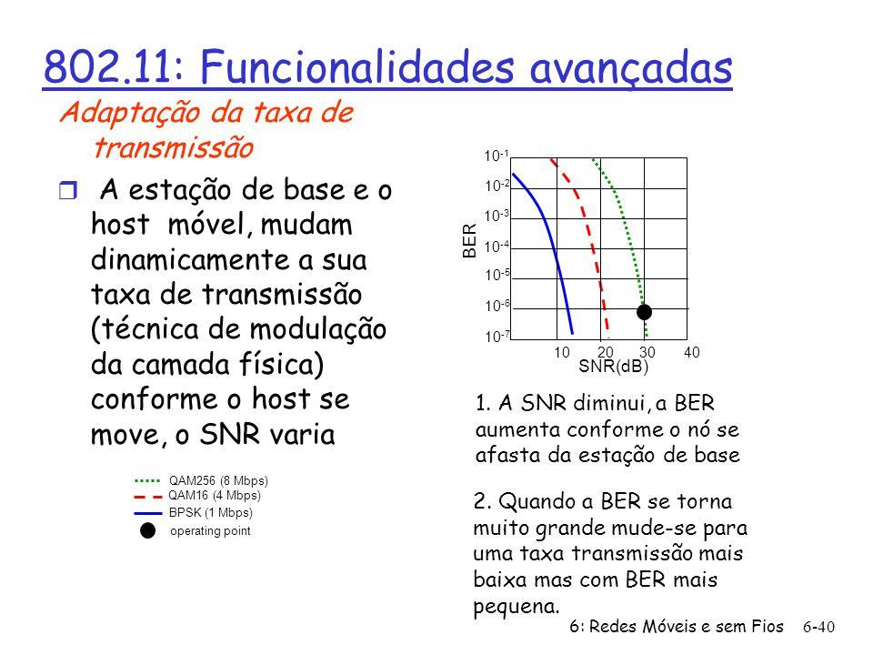 6: Redes Móveis e sem Fios6-40 802.11: Funcionalidades avançadas Adaptação da taxa de transmissão r A estação de base e o host móvel, mudam dinamicame
