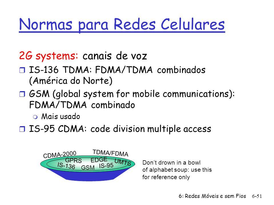 6: Redes Móveis e sem Fios6-51 Normas para Redes Celulares 2G systems: canais de voz r IS-136 TDMA: FDMA/TDMA combinados (América do Norte) r GSM (glo