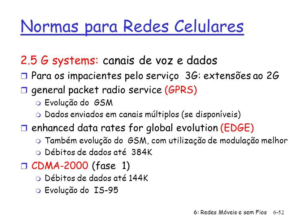 6: Redes Móveis e sem Fios6-52 Normas para Redes Celulares 2.5 G systems: canais de voz e dados r Para os impacientes pelo serviço 3G: extensões ao 2G