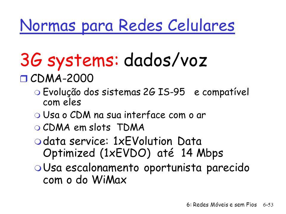 6: Redes Móveis e sem Fios6-53 Normas para Redes Celulares 3G systems: dados/voz r CDMA-2000 m Evolução dos sistemas 2G IS-95 e compatível com eles m