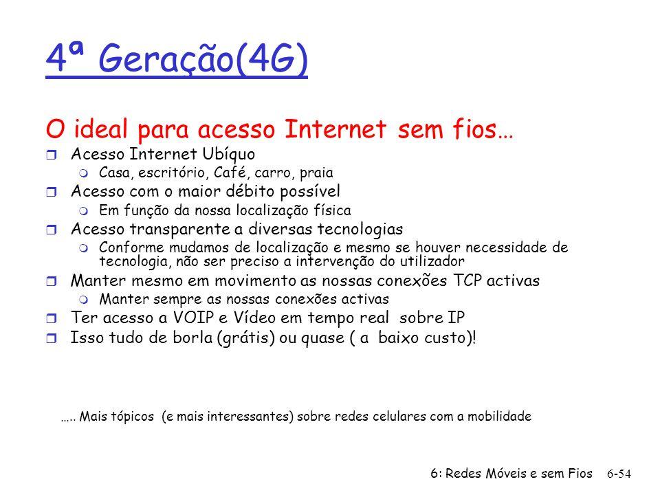 6: Redes Móveis e sem Fios6-54 4ª Geração(4G) O ideal para acesso Internet sem fios… r Acesso Internet Ubíquo m Casa, escritório, Café, carro, praia r