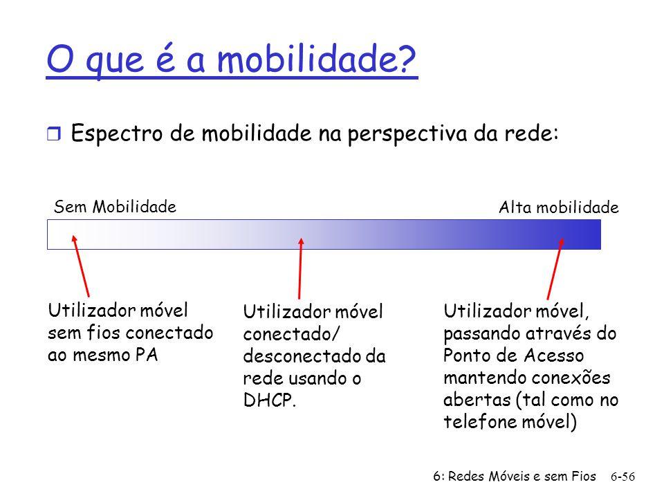 6: Redes Móveis e sem Fios6-56 O que é a mobilidade? r Espectro de mobilidade na perspectiva da rede: Sem Mobilidade Alta mobilidade Utilizador móvel