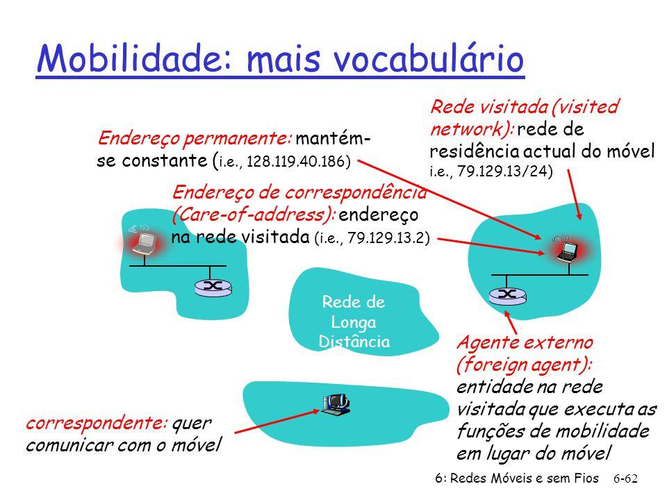 6: Redes Móveis e sem Fios6-62 Mobilidade: mais vocabulário Endereço de correspondência (Care-of-address): endereço na rede visitada (i.e., 79.129.13.