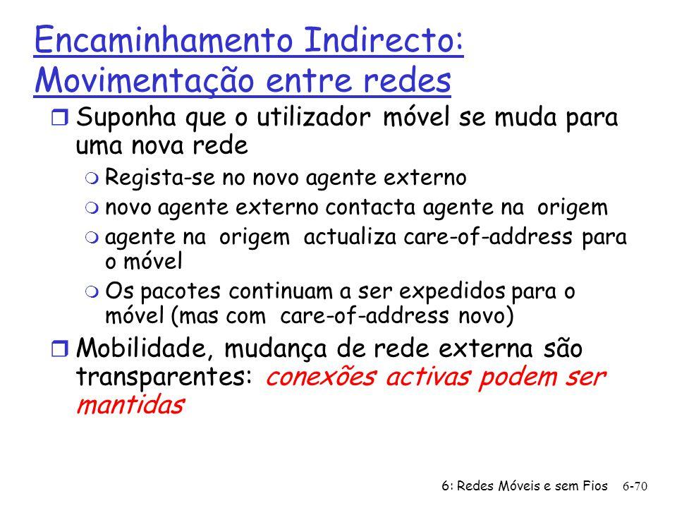6: Redes Móveis e sem Fios6-70 Encaminhamento Indirecto: Movimentação entre redes r Suponha que o utilizador móvel se muda para uma nova rede m Regist
