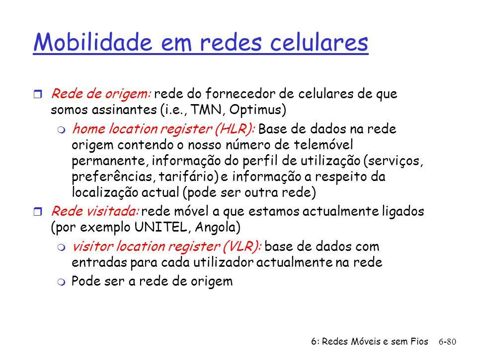 6: Redes Móveis e sem Fios6-80 Mobilidade em redes celulares r Rede de origem: rede do fornecedor de celulares de que somos assinantes (i.e., TMN, Opt