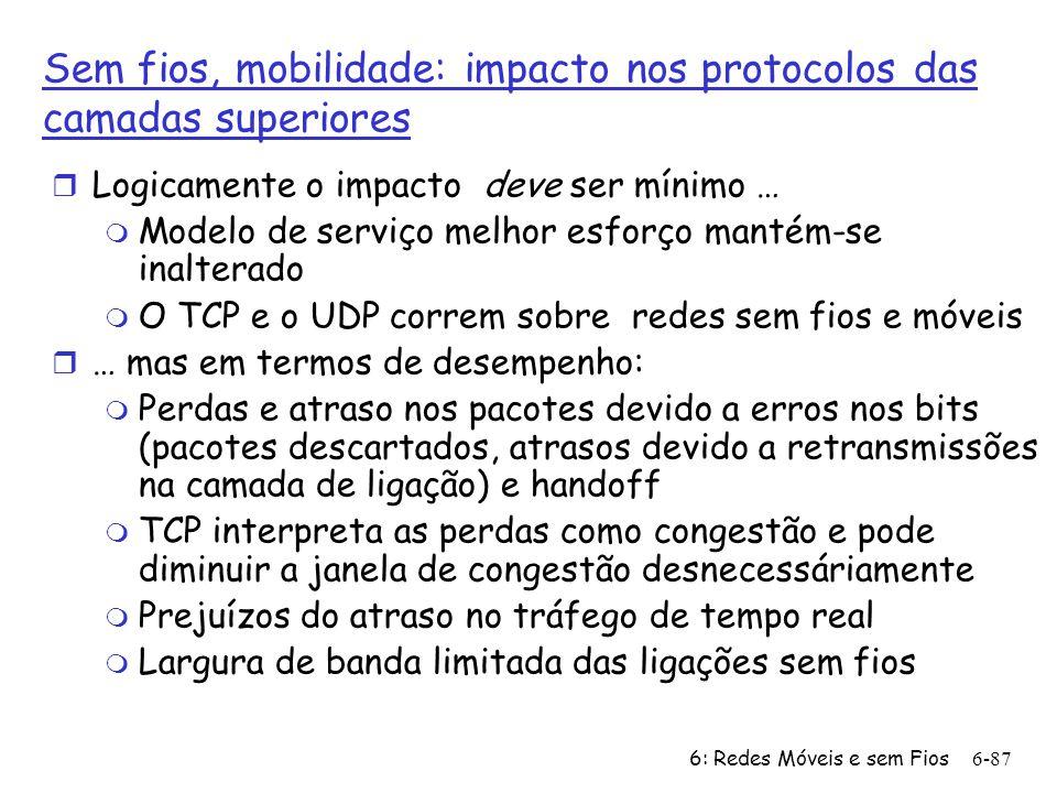 6: Redes Móveis e sem Fios6-87 Sem fios, mobilidade: impacto nos protocolos das camadas superiores r Logicamente o impacto deve ser mínimo … m Modelo