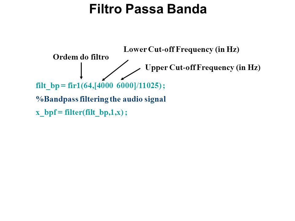 Código MatLab : Exemplo 10.1-II %%%%%%%%%%%%%%%% %Lowpass Filtering %%%%%%%%%%%%%%%% lcutoff = 4000 ; % cutoff frequency in Hz wp = lcutoff/(Fs/2) ; %