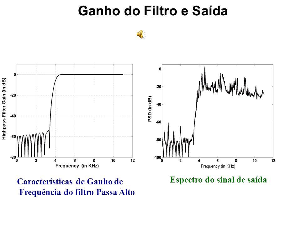 Filtro Passa Alto filt_high = fir1(64,4000/11025,high) ; %Highpass filtering the audio signal x_hpf = filter(filt_high,1,x) ; Filter Order Cut-off Fre