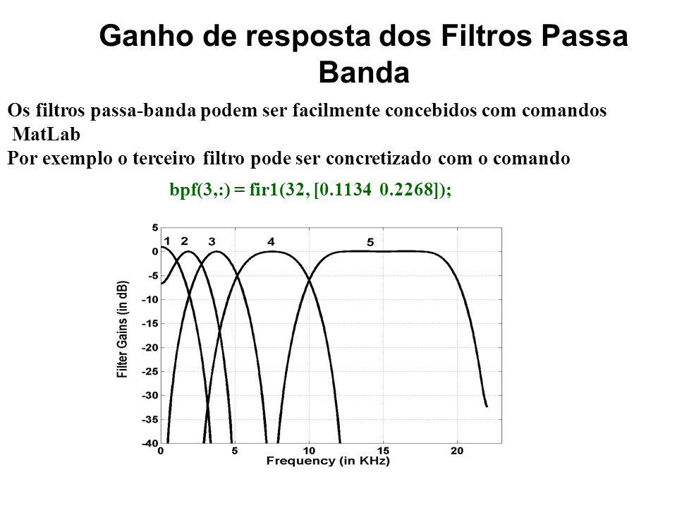 Frequências de corte dos Filtros Passa Banda A frequência de amostragem do sinal de áudio é 44.1 KHz. Um equalizador de 5 bandas concebido com base nu
