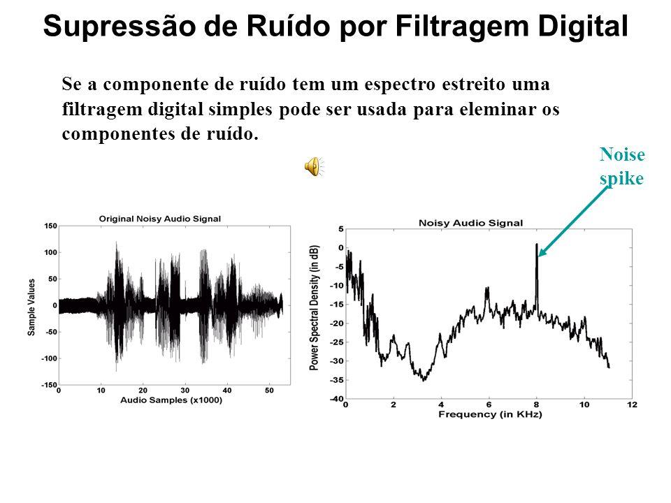 Diferentes técnicas Subtração Espectral : esta téncica suprime o ruído subtraindo um ruído estimado durante os períodos de silêncio. Filtro Wiener: mi
