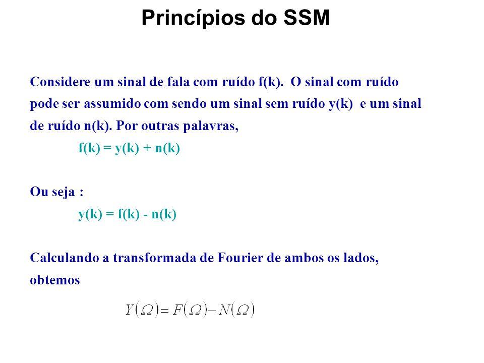 Método de Subtração Espectral (SSM) Se o ruído tem uma distribuição espetral estreita, a filtragem digital pode ser facilmente aplicada para suprimir