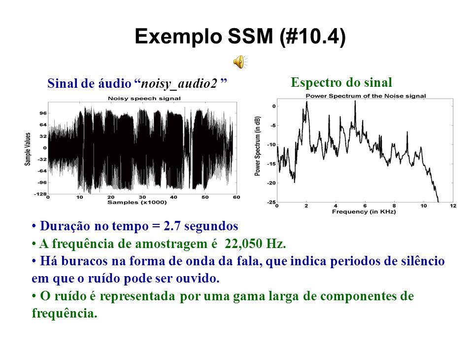 Passos do SSM 3 passos principais: O espectro de ruído é estimado quando o orador está em silêncio. -- Assuma que o espectro de ruído não mude rapidam