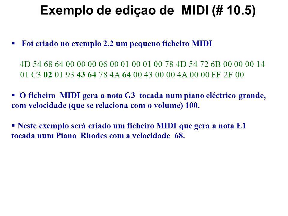 Edição de Áudio e MIDI Ao contrário do áudio digital, o MIDI é genericamente livre de ruído uma vez que é sintetizado. Portanto as técnicas de filtrag