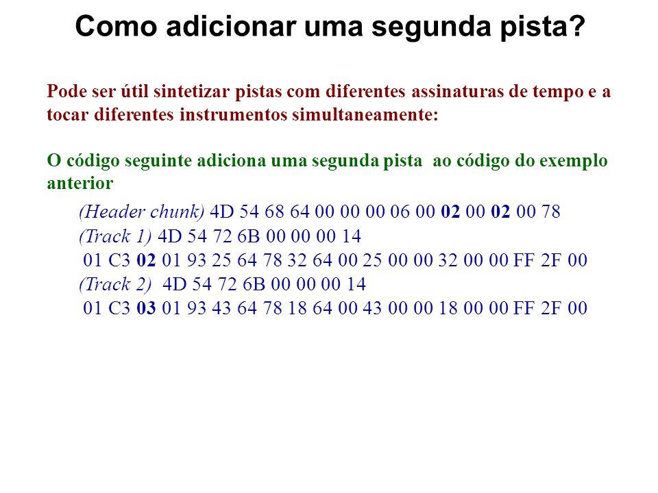 O ficheiro MIDI editado O novo ficheiro pode ser representado no formato hexadecimal da seguinte forma: 4D 54 68 64 00 00 00 06 00 01 00 01 00 78 4D 5