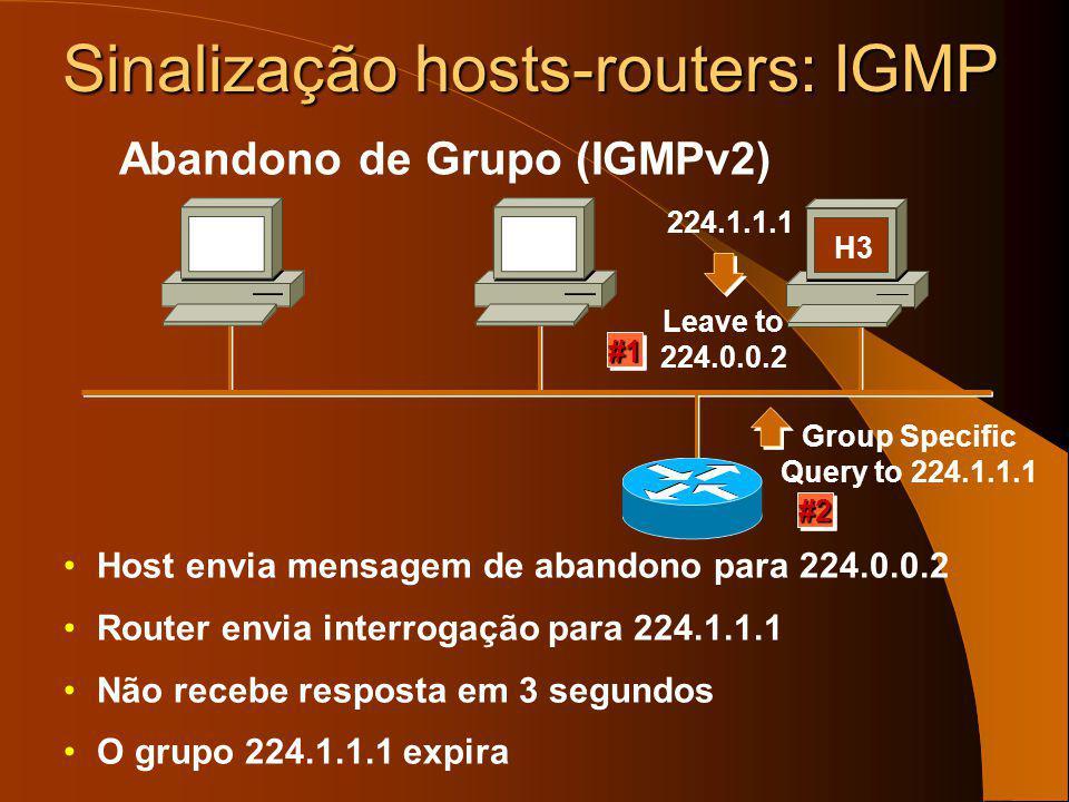 O host deixa o grupo silenciosamente O router envia 3 interrogações espaçadas de 60 seg (1 min) Não recebe qualquer resposta O grupo espira ( ~= 3 min