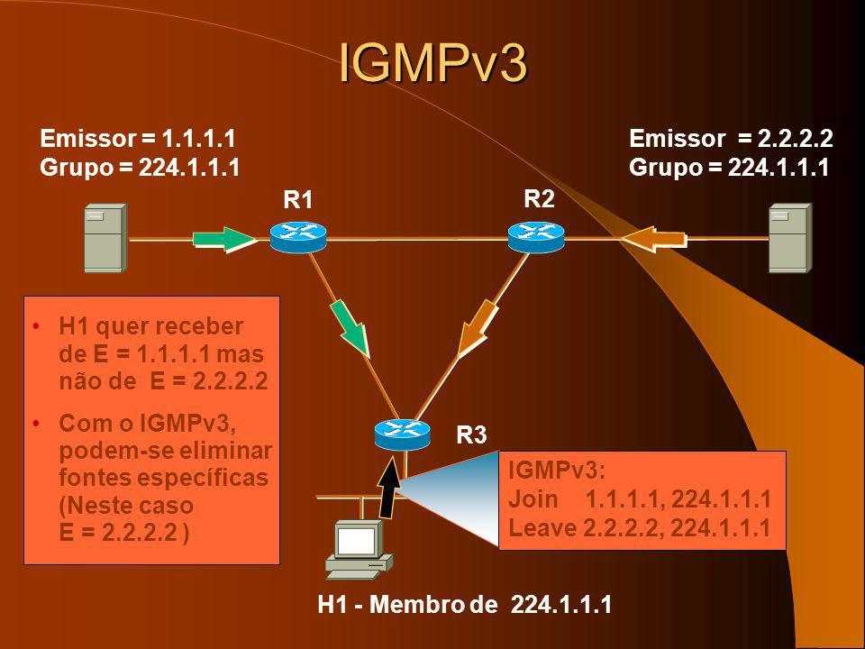 draft-ietf-idmr-igmp-v3-??.txt Primeiras concretizações em versão beta – Permite aos hosts escutar apenas de um subconjunto de emissores num grupo IGM
