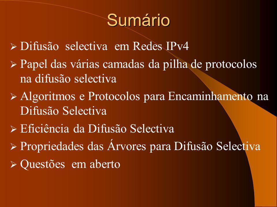 Sumário Difusão selectiva em Redes IPv4 Papel das várias camadas da pilha de protocolos na difusão selectiva Algoritmos e Protocolos para Encaminhamento na Difusão Selectiva Eficiência da Difusão Selectiva Propriedades das Árvores para Difusão Selectiva Questões em aberto