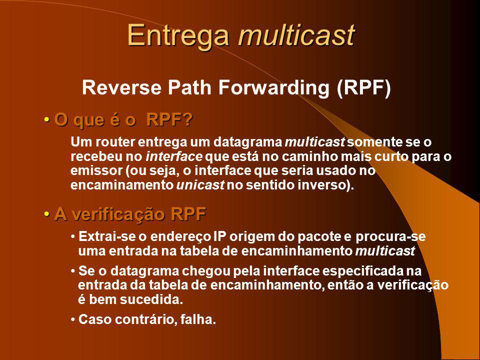 Entrega multicast O encaminhamento multicast é oposto ao encaminhamento unicast: – No encaminhamento unicast interessa para onde o pacote vai – No enc