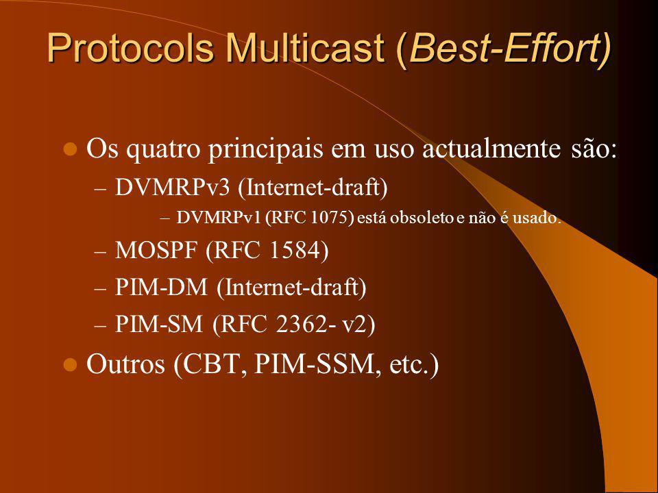 Tipos de protocolos Modo denso Modelo push Tráfego enviado indunda a rede Trunca-se quando não é desejado Flood & Prune (tipicamente de 3 em 3 minutos