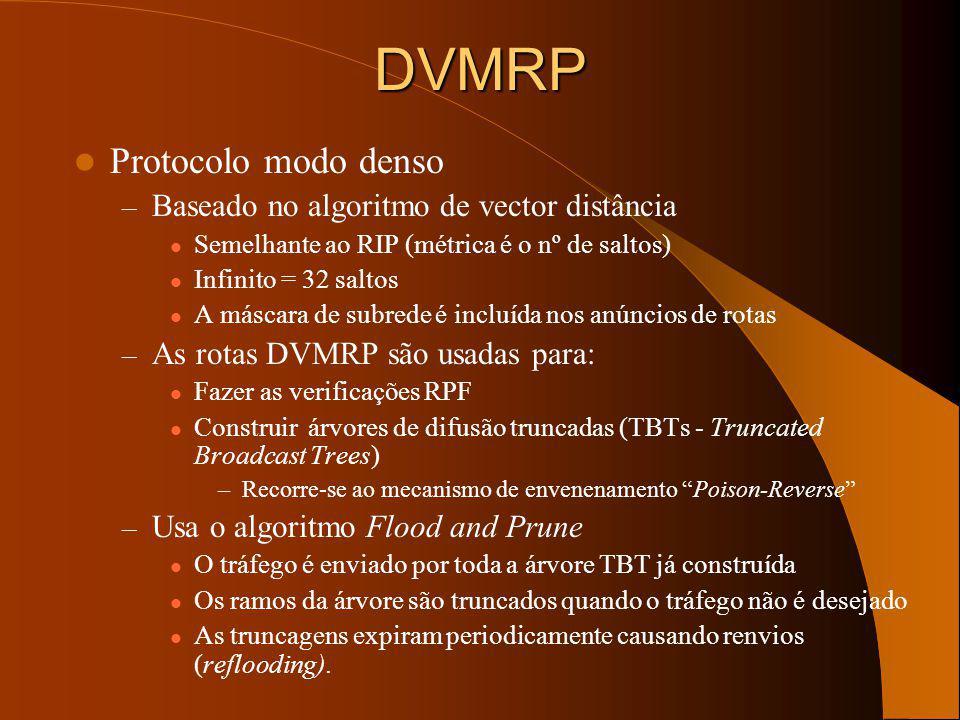 Protocols Multicast (Best-Effort) Os quatro principais em uso actualmente são: – DVMRPv3 (Internet-draft) –DVMRPv1 (RFC 1075) está obsoleto e não é us
