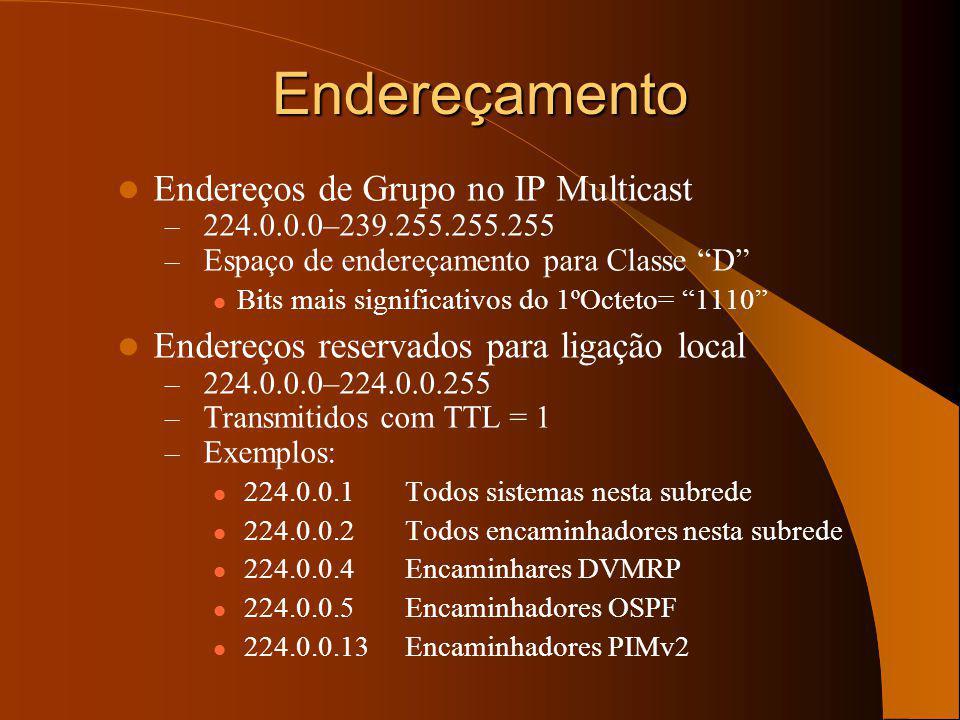Endereços de Grupo no IP Multicast – 224.0.0.0–239.255.255.255 – Espaço de endereçamento para Classe D Bits mais significativos do 1ºOcteto= 1110 Endereços reservados para ligação local – 224.0.0.0–224.0.0.255 – Transmitidos com TTL = 1 – Exemplos: 224.0.0.1Todos sistemas nesta subrede 224.0.0.2Todos encaminhadores nesta subrede 224.0.0.4Encaminhares DVMRP 224.0.0.5Encaminhadores OSPF 224.0.0.13Encaminhadores PIMv2 Endereçamento