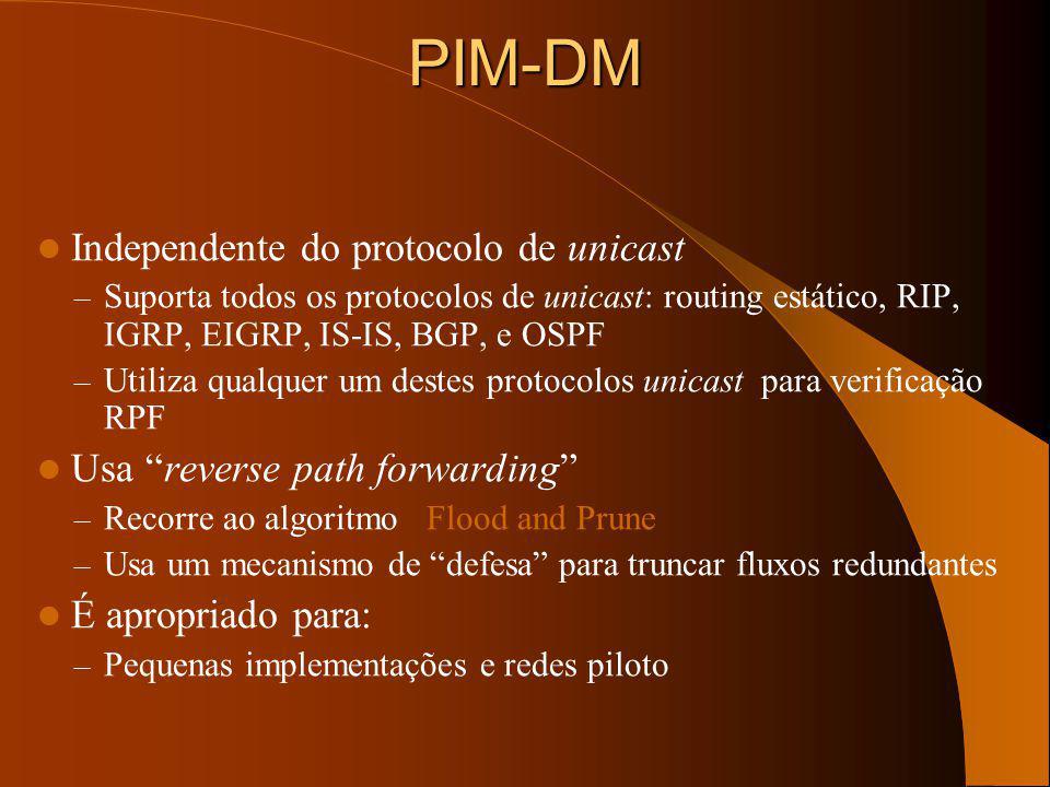 DVMRP - Avaliação Foi amplamente usado no MBONE (embora agora esteja a ser descontinuado) Problemas de escala significativos: – Convergência lenta tal