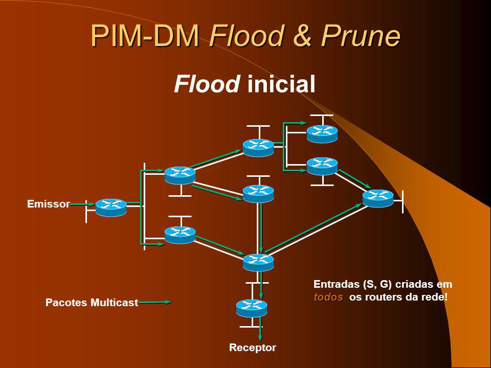 PIM-DM Independente do protocolo de unicast – Suporta todos os protocolos de unicast: routing estático, RIP, IGRP, EIGRP, IS-IS, BGP, e OSPF – Utiliza