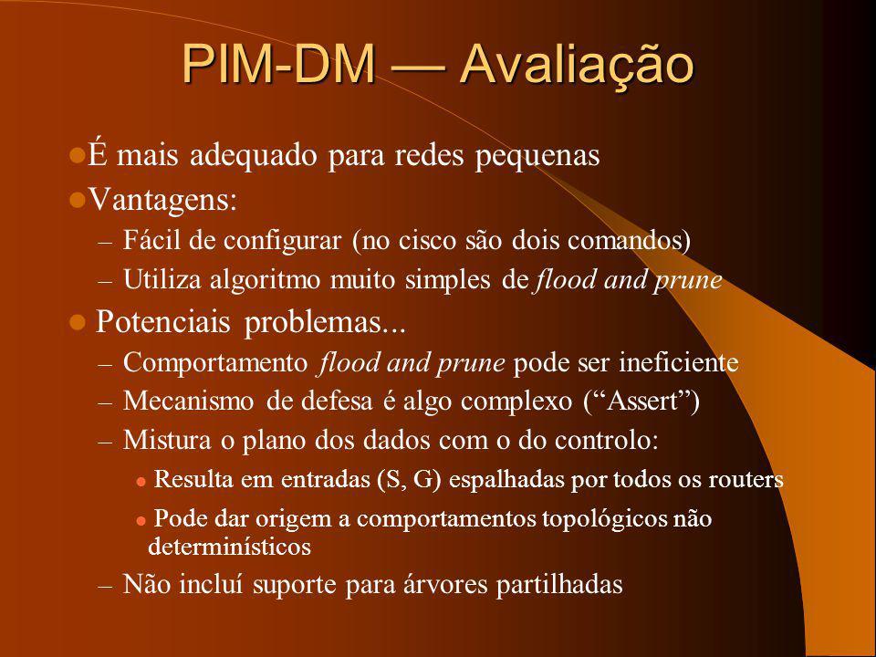 PIM-DM Mecanismo de defesa E0 Pacote Multicast (Validação RPF ok!) E0 S0 Routers recebem o pacote uma interface que consta da lista de interfaces de s