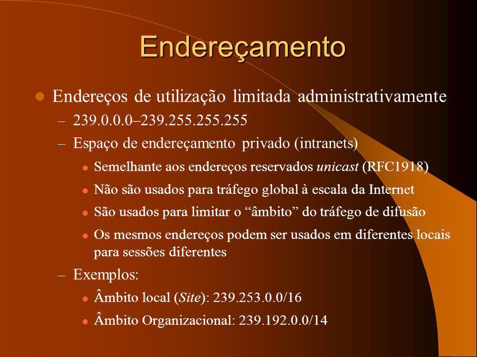 Endereços de utilização limitada administrativamente – 239.0.0.0–239.255.255.255 – Espaço de endereçamento privado (intranets) Semelhante aos endereços reservados unicast (RFC1918) Não são usados para tráfego global à escala da Internet São usados para limitar o âmbito do tráfego de difusão Os mesmos endereços podem ser usados em diferentes locais para sessões diferentes – Exemplos: Âmbito local (Site): 239.253.0.0/16 Âmbito Organizacional: 239.192.0.0/14 Endereçamento