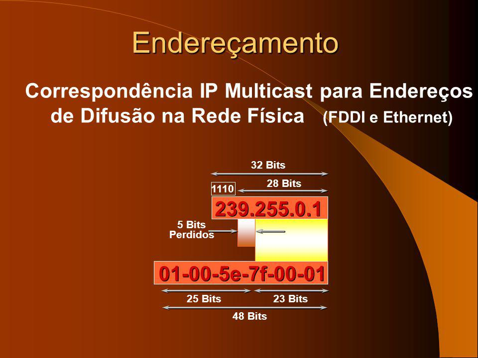 Endereços de utilização limitada administrativamente – 239.0.0.0–239.255.255.255 – Espaço de endereçamento privado (intranets) Semelhante aos endereço