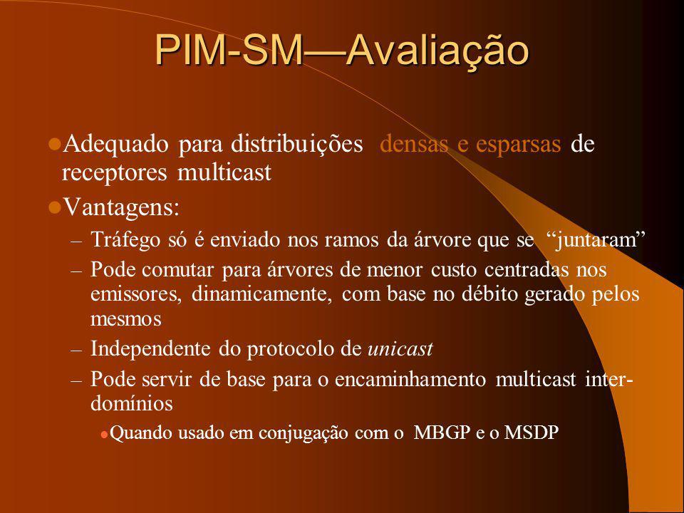 PIM-SM – comutação de árvore Receptor RP Emissor Source Tree Shared Tree Dados (S, G) Traffic são agora difundidos para os receptores apenas através d