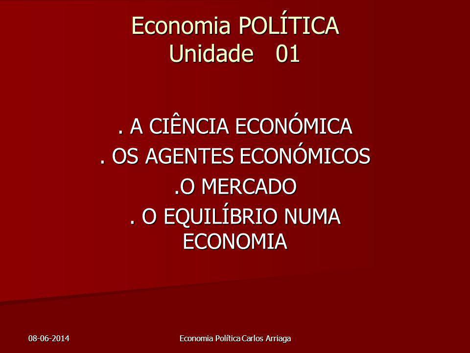 08-06-2014Economia Política Carlos Arriaga Economia POLÍTICA Unidade 01. A CIÊNCIA ECONÓMICA. OS AGENTES ECONÓMICOS.O MERCADO. O EQUILÍBRIO NUMA ECONO
