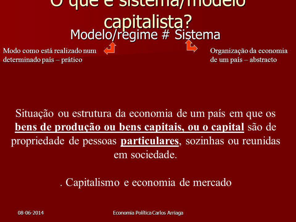 08-06-2014Economia Política Carlos Arriaga O que é sistema/modelo capitalista? Modelo/regime # Sistema Modo como está realizado num determinado país –