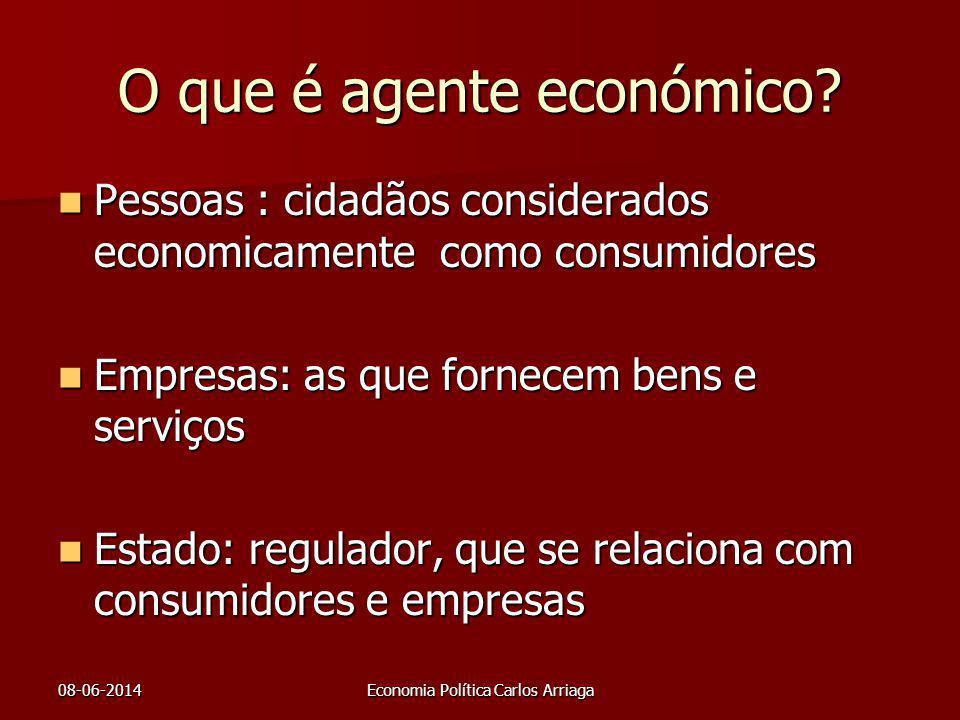 08-06-2014Economia Política Carlos Arriaga O que é agente económico? Pessoas : cidadãos considerados economicamente como consumidores Pessoas : cidadã