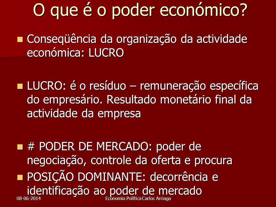 08-06-2014Economia Política Carlos Arriaga O que é o poder económico? Conseqüência da organização da actividade económica: LUCRO Conseqüência da organ