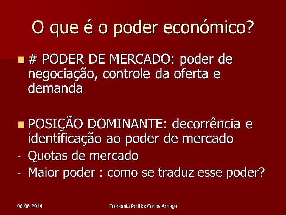 08-06-2014Economia Política Carlos Arriaga O que é o poder económico? # PODER DE MERCADO: poder de negociação, controle da oferta e demanda # PODER DE