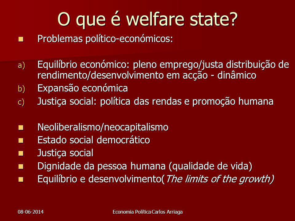 08-06-2014Economia Política Carlos Arriaga O que é welfare state? Problemas político-económicos: Problemas político-económicos: a) Equilíbrio económic