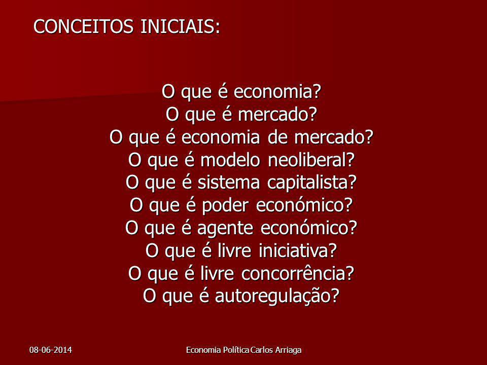 08-06-2014Economia Política Carlos Arriaga CONCEITOS INICIAIS: O que é economia? O que é mercado? O que é economia de mercado? O que é modelo neoliber