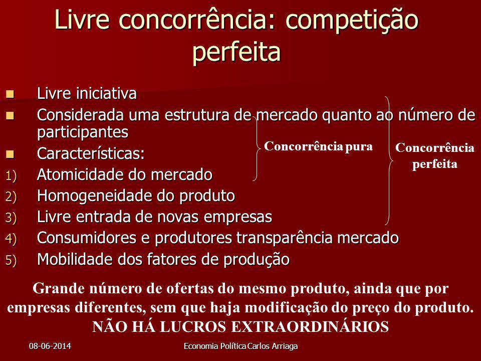 08-06-2014Economia Política Carlos Arriaga Livre concorrência: competição perfeita Livre iniciativa Livre iniciativa Considerada uma estrutura de merc