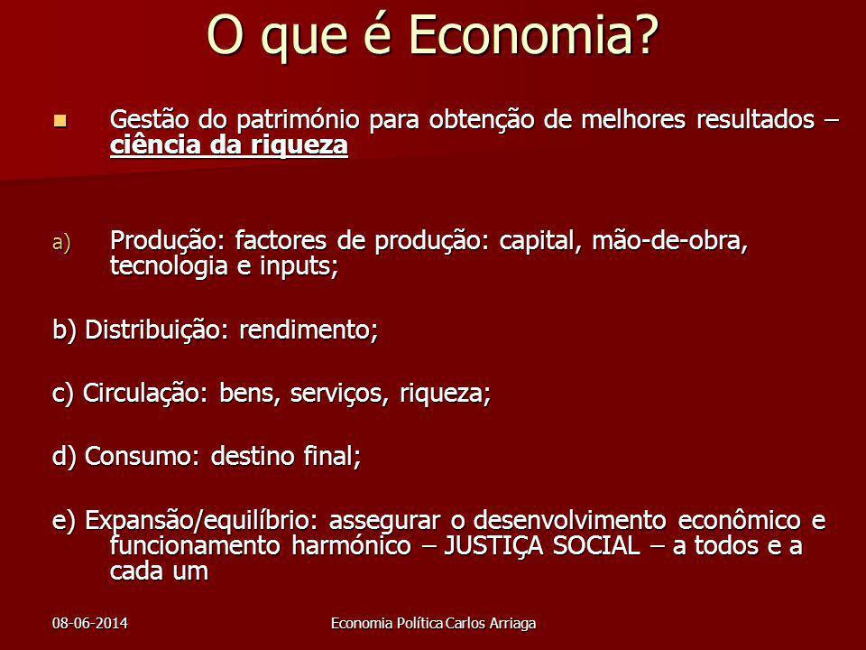 08-06-2014Economia Política Carlos Arriaga O que é Economia? Gestão do património para obtenção de melhores resultados – ciência da riqueza Gestão do