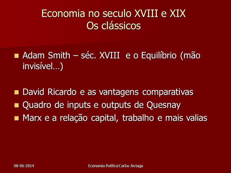 08-06-2014Economia Política Carlos Arriaga Economia no seculo XVIII e XIX Os clássicos Adam Smith – séc. XVIII e o Equilíbrio (mão invisível…) Adam Sm