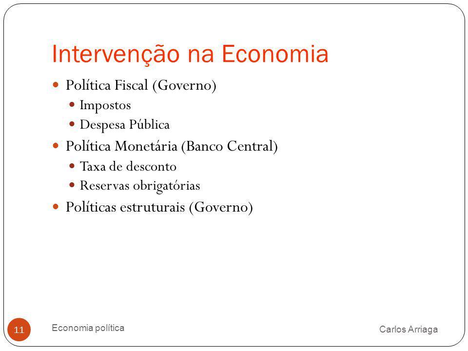 Intervenção na Economia Carlos Arriaga Economia política 11 Política Fiscal (Governo) Impostos Despesa Pública Política Monetária (Banco Central) Taxa