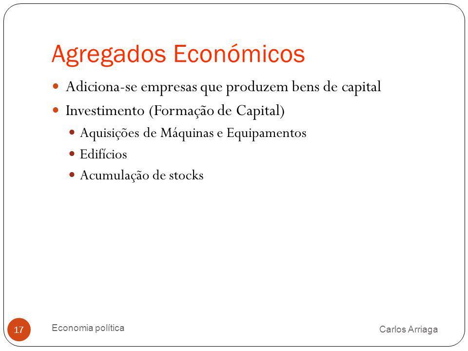 Agregados Económicos Carlos Arriaga Economia política 17 Adiciona-se empresas que produzem bens de capital Investimento (Formação de Capital) Aquisiçõ