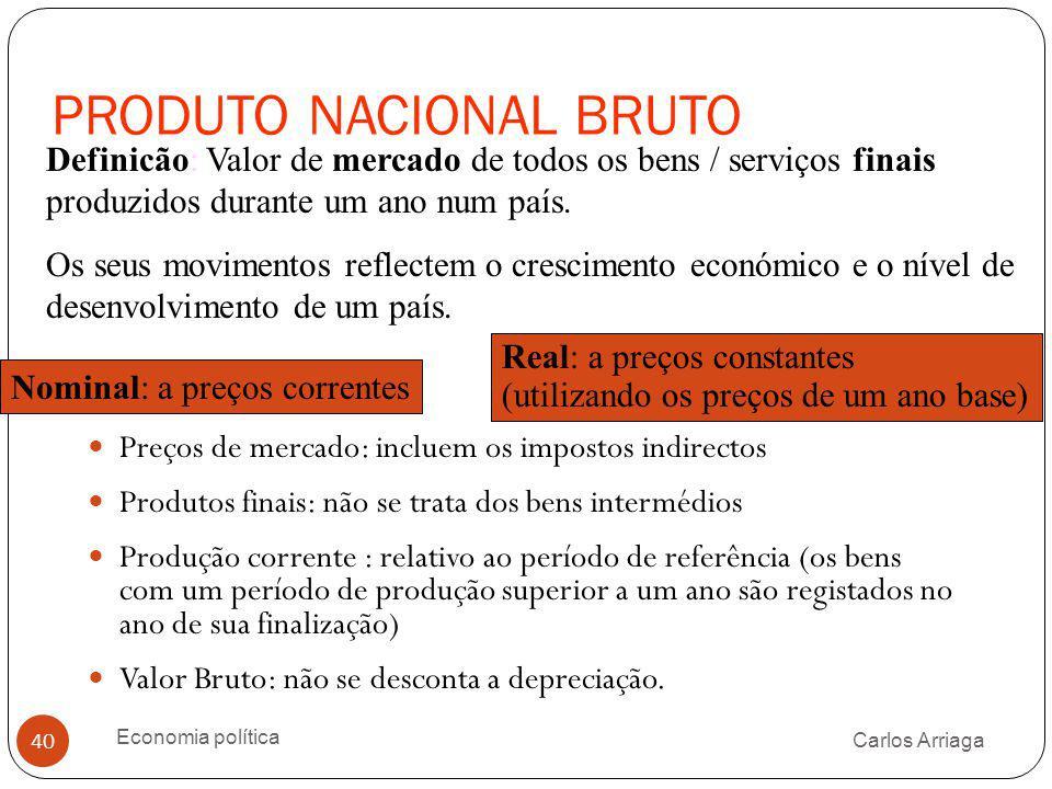 PRODUTO NACIONAL BRUTO Carlos Arriaga Economia política 40 Preços de mercado: incluem os impostos indirectos Produtos finais: não se trata dos bens in