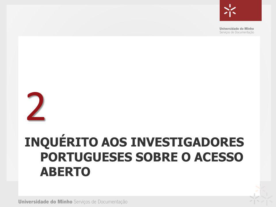 INQUÉRITO AOS INVESTIGADORES PORTUGUESES SOBRE O ACESSO ABERTO 2